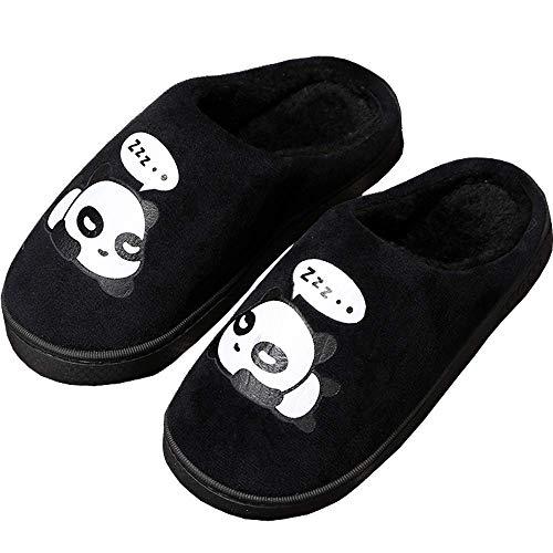 Peluche Pantofole Donne Uomo Caldo Carine Panda Pantofole Inverno Autunno Bambine Interni Antiscivolo Scarpe di Slipper per Ragazzi Ragazze Nero 43/44 EU = 44/45 CN