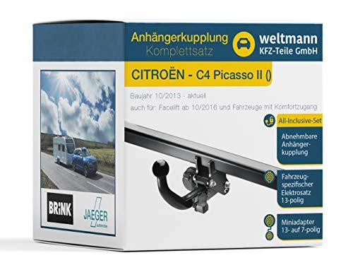 Weltmann AHK Komplettset geeignet für CITROËN C4 Picasso II Brink Abnehmbare Anhängerkupplung + fahrzeugspezifischer Jaeger Automotive Elektrosatz 13-polig