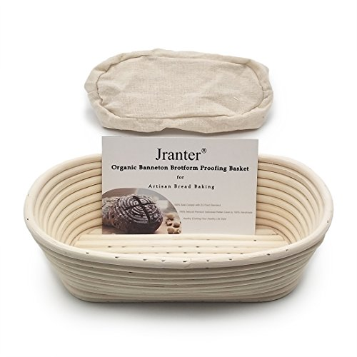 Banneton Bread Proofing Basket Oval 10 Inch and Linen Liner Set