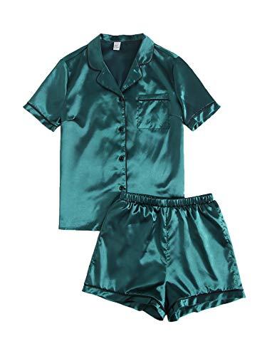 SweatyRocks Women's Short Sleeve Sleepwear Button Down Satin 2 Piece Pajama Set Mocha Brown Small