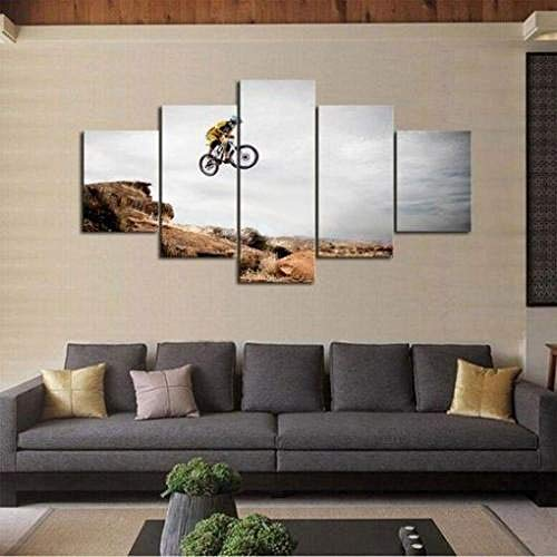 IOOIO 5 canvas picture for bedroom Mountain Biker Prints 5 Pieces Modern Artwork Pictures Photo Paintings Art Artwork Living Room Home Decorations Wall Décor