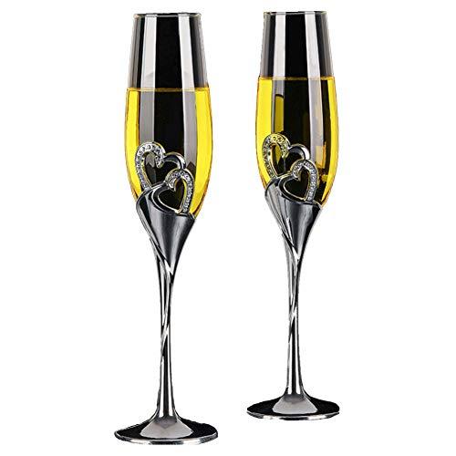 Chiatai Juego de 2 copas de champán para boda con forma de corazón para regalo de boda elegante