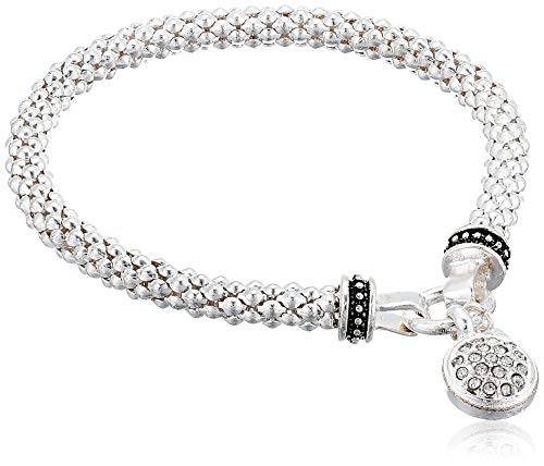 NINE WEST Women's Silvertone Crystal Pave Circle Stretch Bracelet