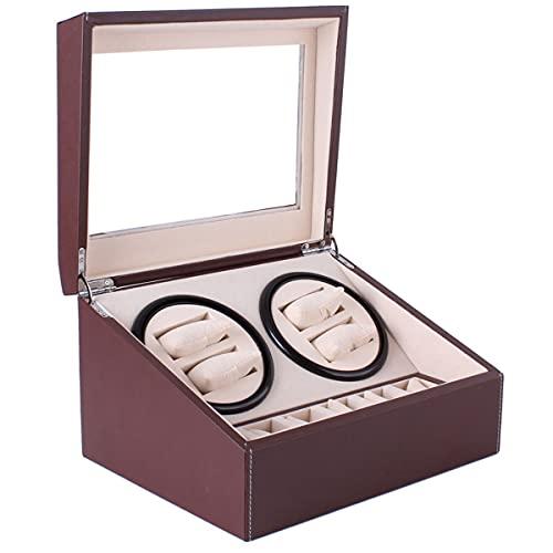 SYN-GUGAI Caja de visualización de reloj con devanadera de reloj, caja de almacenamiento giratoria de cuero 4+6, con almohada de felpa, reloj automático de señora y hombre