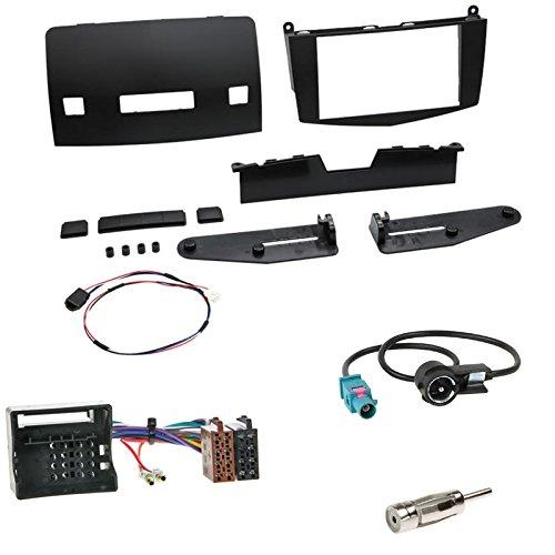 Einbauset : Autoradio Doppel-DIN 2-DIN Blende Einbaurahmen Radioblende schwarz + ISO Radio Adapter Kabel Adapterkabel + Antennenadapter für Mercedes C-Klasse (W204) 03/2007-02/2011