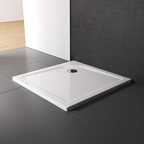 Schulte Duschwanne 80x80 cm, Quadrat extra-flach 3,5 cm, Sanitär-Acryl alpin-weiß, inkl Ablauf und Füßen