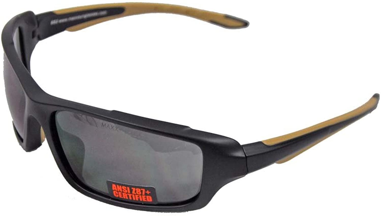 Maxx Sunglasses SS2 Black Full TR90 Frame with Ansi Z87+ Smoke Lens