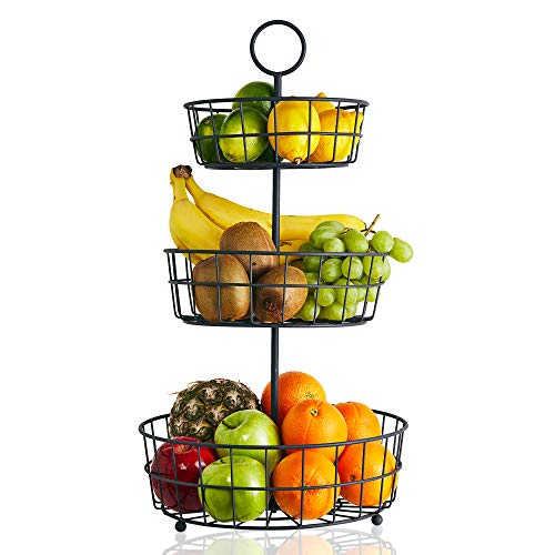 3 Tier Fruit Basket - French Country Wire Basket by Regal Trunk & Co. | Three Tier Fruit Basket Stand for Storing & Organizing Vegetables, Eggs, and More | Fruit Basket for Counter or Hanging (3 Tier)