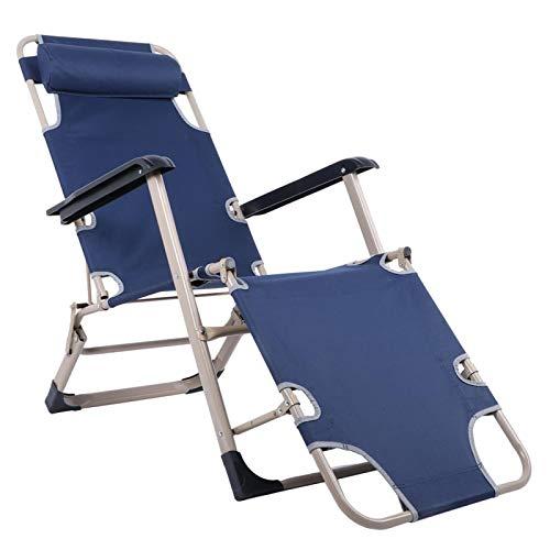 Emoshayoga Verschleißfester Recliner Iron Folding Beach Chair Lounge Chair für Gartencamping im Freien(Blue)