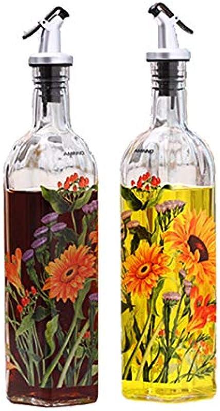 Glass Leak Proof Oil Kettle Soy Sauce Vinegar Bottle Creative Kitchen Seasoning Bottle Two Sets Non Drip Spout Non Slip Olive Oil Dispenser Oil Container With Cartoon Graphics Chrysanthemum