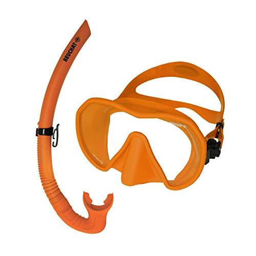 BEUCHAT Maxlux S Schnorchelset -Tauchmaske mit Spy Schnorchel, Farbe:orange