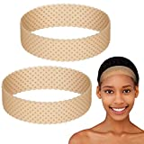 2 Pieces Silicone Grip Wig Band Adjustable Silicone Wig Headband Fix Non-slip Wig Bands Seamless Wig Band Wig Grip Band Strong Holder for Men Women Sports Yoga (Light Brown)