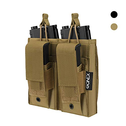 Gonex Double Molle Mag Pouch, Pistol Magazine Pouch Open Top Tactical Rifle Kangaroo Pouch for M4 M16 AK AR Magazine Glock M1911 92F 9mm, Tan