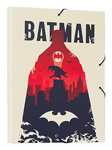 Grupo Erik - Chemise Cartonnée A4 Batman   Chemise à Rabats Rigide   Pochette Cartonnée 24 x 34 cm   Fournitures Scolaires, Fournitures de Bureau CSG0093