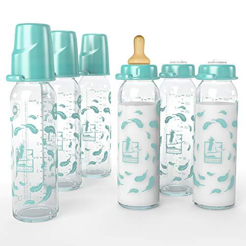 Juego de 6 botellas de cristal estándar de Lelekka® con tetina redonda de látex, tamaño M, leche, desde el nacimiento, 240 ml, látex natural