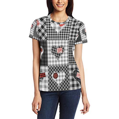 Camiseta para Mujeres niñas Día de San Valentín Corazón Plaid Patchwork Manga Corta Personalizada