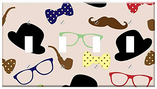 Switch Plate 4 Gang Toggle - Moustache Hat Bowler Bowler Hat Tie Bow Tie