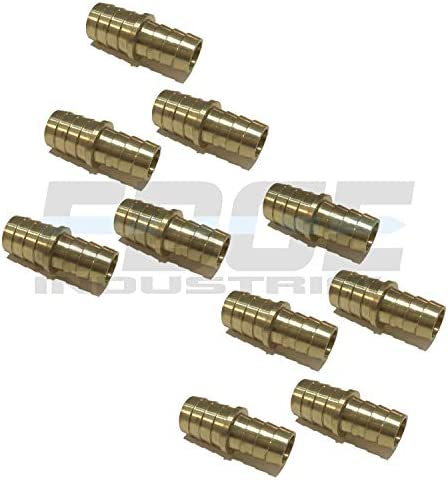 Gas EDGE INDUSTRIAL 3//8 X 5//16 Hose ID Brass Barb Reducer SPLICER Fitting Fuel WOG Qty 10 AIR Oil Water