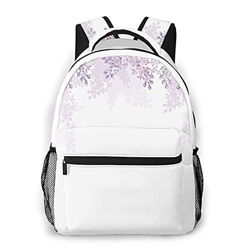 MTevocon Rucksack für Teens Herren Damen Aufbewahrungspaket,Rahmung lila Blumen in Blossom Vernal Sea, Business Casual Schultasche Reise-Laptop-Tagesrucksack