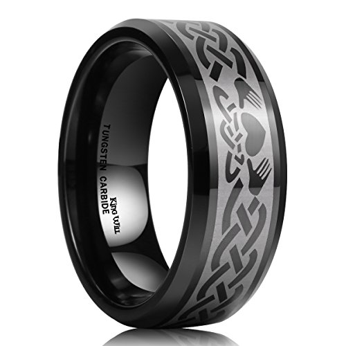 King Will Classic Men's 8mm Black Tungsten Carbide Ring Laser Irish Claddagh Engagement Polish Wedding Band 10