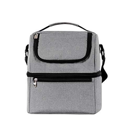 JRXyDfxn Lunch Bag Oxford Isolierte Bento Tasche Leakproof Prep Mahlzeit Halter Double Layer Picknick Kühltasche Grau
