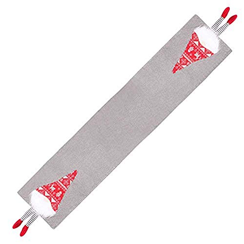 UNIVERSESTAR Christmas Table Runner, Gnome Tomte Decorative Table Linen Table Flag for Christmas Decoration,Family Dinner, Holiday Party, 70 x 13 Inch (Gray)