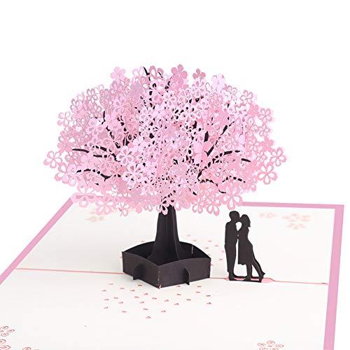 MULOVE Grußkarte - 3D Pop Up Kirschblüte Liebhaber Valentinstag Karte, Hochzeitstag, Hochzeitseinladungen,Hochzeitskarte, Romantik-Karte,Geburtstagskarte für sie, Glückwunschkarten mit Umschlag
