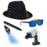 Tigerdoe Detective Costume - Spy Gear for Kids - Dress Up - Spy Costume Accessories (4 Pc) Black