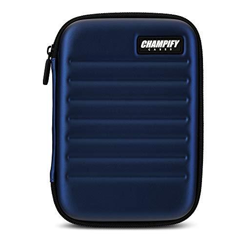 Champify Darttasche blau mit Haltesystem gegen Verrutschen der Dartpfeile | Hard-Case zum Schutz für 6 Steeldarts oder Softdarts und vielen Taschen für Dart Flights und weiteres Darts Zubehör
