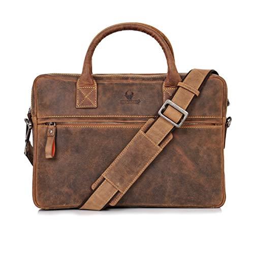 DONBOLSO Notebooktasche Marseille 13,3 Zoll Leder I Umhängetasche für Laptop I Aktentasche für Notebook I Tasche für Damen und Herren (Braun)