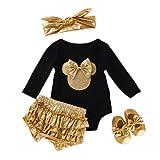 TMOYJPX Ropa Bebe Niño Conjunto 0-24 Meses Invierno Regalos Disfraz Mono + Pantalones + Banda de Pelo para Niñas Pelele Mameluco Bebé Recien Nacido Otoño (6-12 meses, Negro)