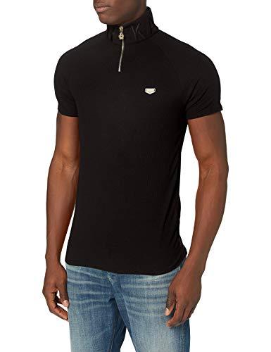 Gianni Kavanagh Black Core Turtleneck Zip Polo Camiseta, Negro, S para Hombre