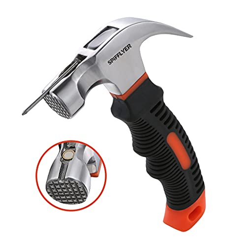 Spifflyer 8 oz Magnetic Small Hammer with Nail Starter Mini Hammer and Nails Tool, Anti-Slip Head
