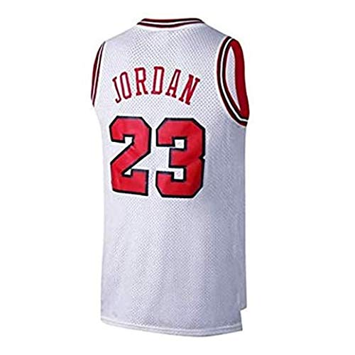 FYPARF Basketball Kleidung Herren NBA Jordan (Michael Jordan) # 23 Chicago Bulls Basketball Trikot Retro Gym Weste Sport Top (White,XL)