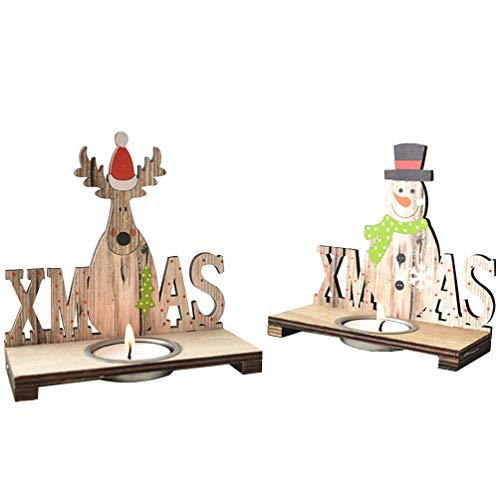 LIOOBO Weihnachtskerzenhalter aus Holz mit 2 Sätzen Weihnachtskerzenhalter-Weihnachtszeichenmittelstück für Gartenhofdekoration