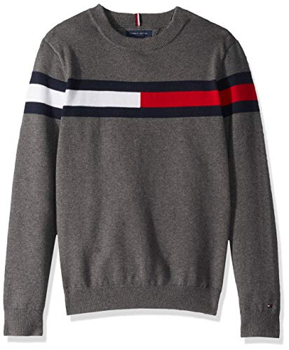 Tommy Hilfiger Boys' Adaptive Sweater with Hook and Loop Fastener at Shoulders, medium grey hear LG