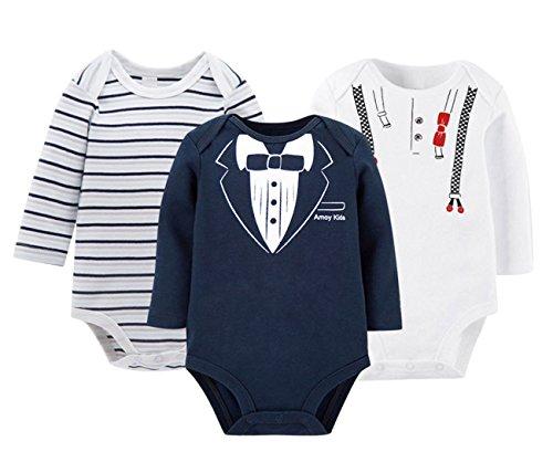 FEOYA Nouveau-né Bébé Grenouillères Body Fille Garçon Ensemble de 3PCS en Coton Combinaison Pyjama Manche Longue Cravate Rayures Noir et Blanc Printemps Été Automne 0-3mois