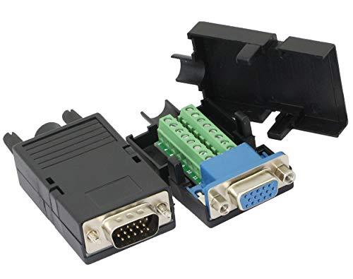 CERRXIAN D-SUB DB15 3-reihiger VGA 3 + 9-Stecker + Buchse 15-polige Abdeckung Breakout-Anschlüsse Platinenanschluss, 1 Paar