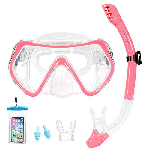 Supertrip Snorkel Set Adults-Scuba Snorkeling Diving Mask with Impact Resistant Anti-Fog Temperred Glass Dry Top Snorkel,2 Mouthpieces 1 Waterproof Case Included Pink