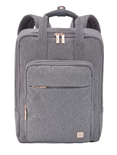 TITAN Rucksack Handgepäck mit gepolstertem Laptopfach bis 14 Zoll + Aufsteckfunktion, Gepäck Serie BARBARA: Exklusiver Backpack im eleganten Look, 383502-04, 38 cm, 12 Liter, grey (grau)