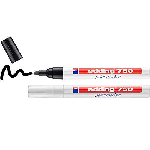 Edding 750 marcador de tinta opaca - negro, blanco - 2 rotuladores - punta redonda 2-4 mm - para metal, vidrio, piedras o plástico - resistente al calor, permanente, no mancha, impermeable