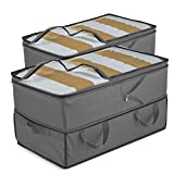 Expandable Clothes Storage Bags [70L Capacity] 2 Pk - 2 Adjustable Sizes for Compact Under Bed Storage or Expands to Large Clothing Storage Bag, Reinforced Carry Handles- for Comforter Blanket Bedding