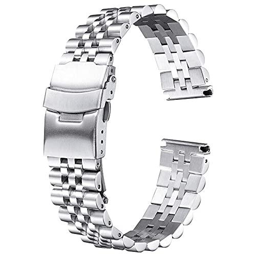 ZXF Correa Reloj, Pulsera de la Banda de Reloj de Acero Inoxidable 20 mm 22 mm 24 mm Mujeres Hombres Hombres Plata Metal Reloj de la Correa de la Banda Accesorios (Color : Silber, Size : 21mm)