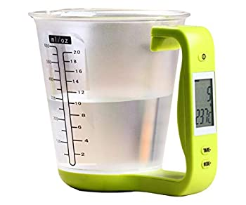 KT THERMO Food Scale Digital Kitchen Multi-Function Measuring Cup Scale 1kg/600ml with LCD Display and Built In Thermometer Tare Function Weighing and Measuring Dry Liquid Weight Baking Cooking Green