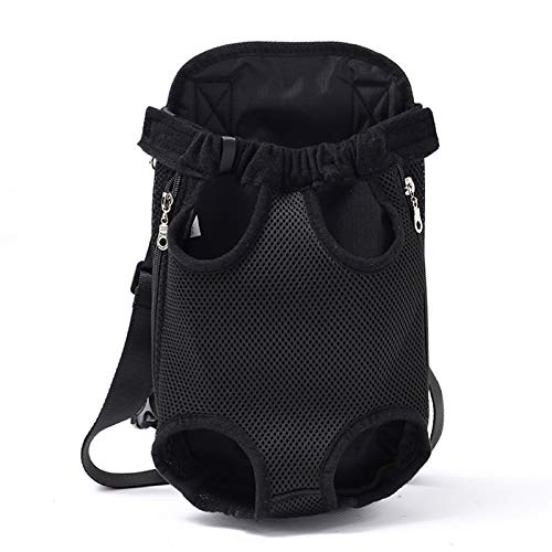 Legs Out Front Pet Dog Cat Carrier Ventilation Travel Solid Color Backpack, Adjustable Hands-Free Backpack Travel Bag,Small Medium Dog Puppy Cat Outdoor (Black, XL)