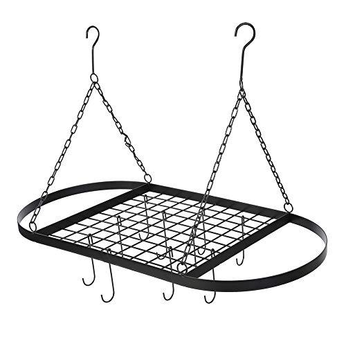 Percha de hierro negro para colgar ollas y sartenes, ovalada, con 10 ganchos, organizador de almacenamiento para cocina, utensilios de cocina, 82x42x50 cm
