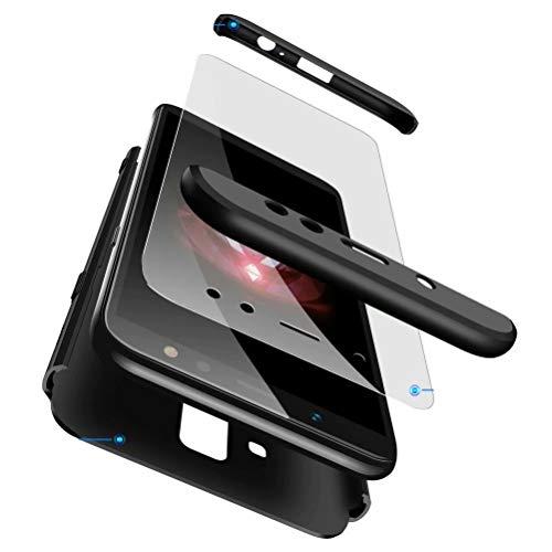 AILZH kompatibel für HandyHülle Samsung A8 2018 Hülle 360 Grad Schutzhülle Shell Anti-Schock Shockproof Ganzkörper Schützend Anti-Kratz Stoßfänger Cover Hülle Matte Schutzkasten(Schwarz)