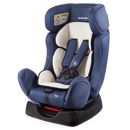 BABYLON silla coche Era, silla coche sin isofix 0/1/2, silla bebe coche Niños 0-25 kg (0 a 7 años) silla coche bebe fabricada en Europa ECE R44 / 04 azul/beige