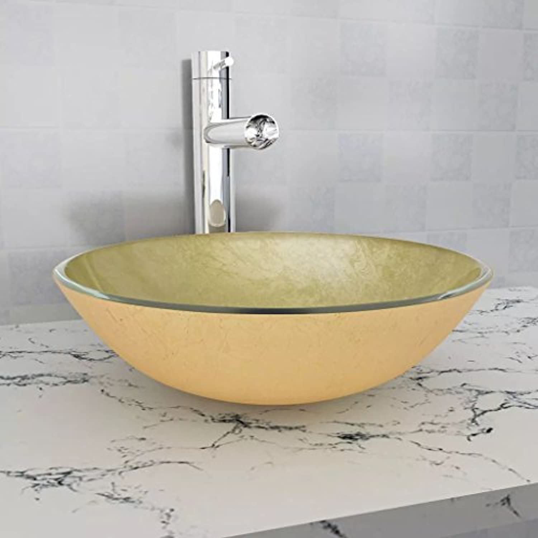 Tidyardardardine aus gehrtetem Glas, Waschbecken, 42 cm, Goldfarben