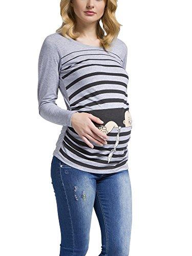 Fuga de bebé - Camiseta premamá Sudadera con Estampado Durante el Embarazo, Manga Larga (Gris, X-Large)
